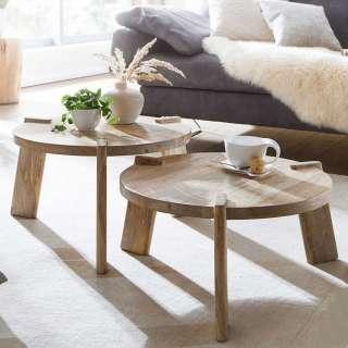Beistelltische Sofa in Mangobaum Natur Dreifußgestell (zweiteilig)