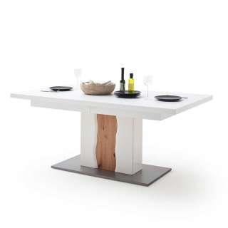 Design Säulentisch in Weiß Hochglanz und Wildeiche Optik Mittelauszug