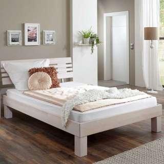 Holz Futonbett in Buche White Wash 37 cm Einstiegshöhe