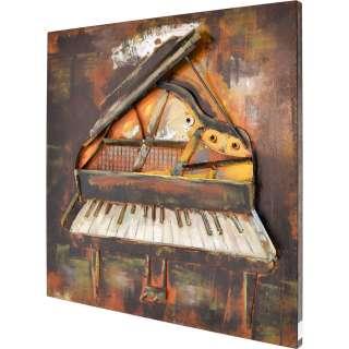 3D Metallbild Klavier Wandbild 80 x 80 cm