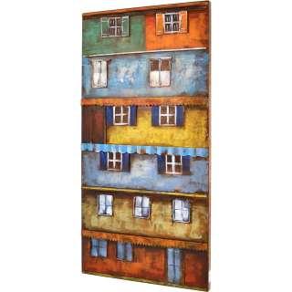 3D Metallbild Buntes Haus Wandbild 100 x 50 cm