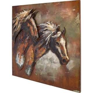 3D Metallbild Pferde Wandbild 100 x 100 cm