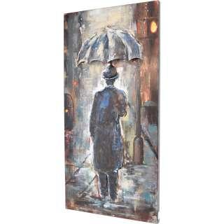 3D Metallbild Mann im Regen Wandbild 60 x 120 cm
