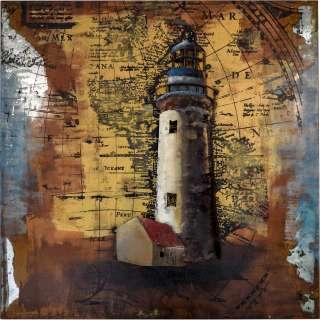 3D Metallbild Leuchtturm Wandbild 80 x 80 cm