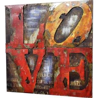 3D Metallbild Love Wandbild 100 x 100 cm