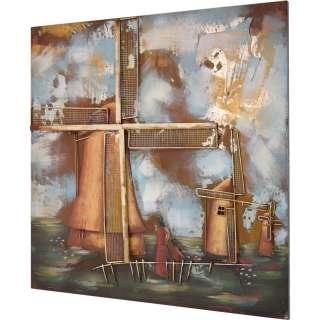 3D Metallbild Mühle Wandbild 100 x 100 cm