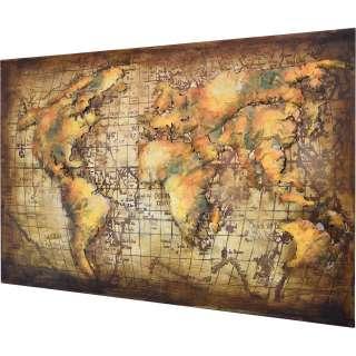 3D Metallbild Weltkarte Wandbild 120 x 80 cm