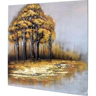 3D Metallbild Bäume am Fluss Wandbild 100 x 100 cm