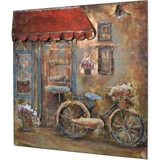 3D Metallbild Fahrrad Cafe Wandbild 100 x 100 cm