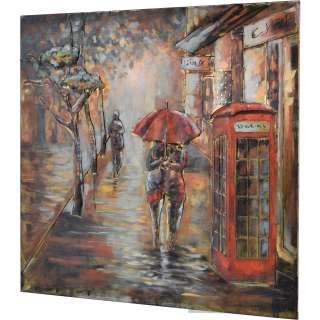 3D Metallbild Telefonzelle Wandbild 100 x 100 cm