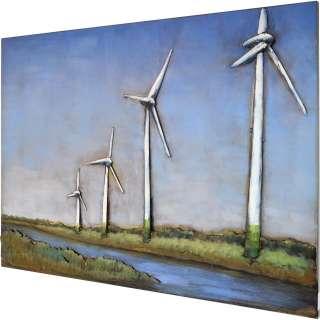 3D Metallbild Windmühle Wandbild 100 x 75 cm