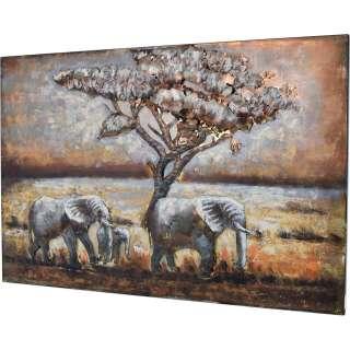 3D Metallbild Elefanten Wandbild 120 x 80 cm