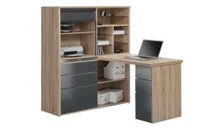 Komplett-Büro  Mosel ¦ grau ¦ Maße (cm): B: 126,6 H: 150 T: 187 Komplett-Büro - Höffner