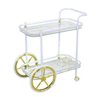 Serviertisch mit Rädern Weiß und Goldfarben