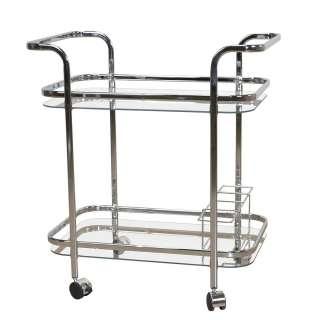 Küchenwagen aus Glas und verchromtem Stahl 75 cm hoch