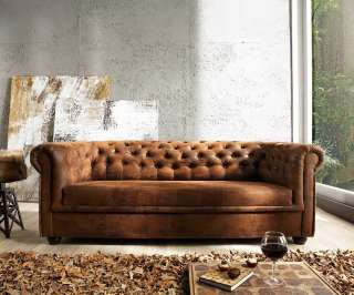 DELIFE Sofa Chesterfield 200x92 Braun Antik Optik 3-Sitzer Couch, Chesterfields