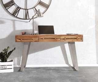 DELIFE Schreibtisch Live-Edge 137 cm Akazie Natur Baumkante, Schreibtische, Baumkantenmöbel, Massivholzmöbel, Massivholz, Baumkante, Wolf Live Edge
