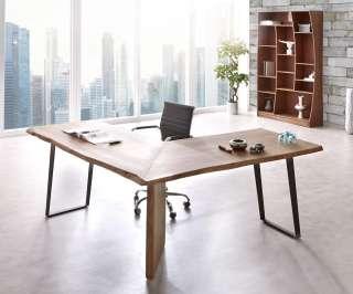 DELIFE Schreibtisch Live-Edge 170x170 Akazie Braun Gestell Schwarz Baumkante, Schreibtische, Baumkantenmöbel, Massivholzmöbel, Massivholz, Baumkante, Wolf Live Edge