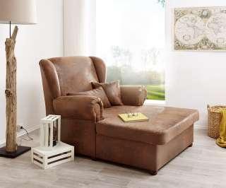 DELIFE Sessel Lionardo 120x160 cm Braun Lounge Chair Antik Optik, Relaxsessel