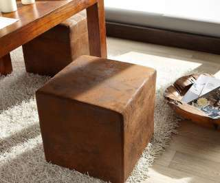 DELIFE Sitzhocker Dado Braun 45x45 cm Antik Optik, Sitzhocker / Sitzwürfel