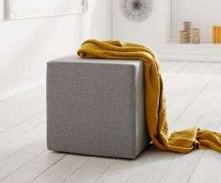 DELIFE Sitzwürfel Dado 45x45 cm Grau Hocker, Sitzhocker / Sitzwürfel