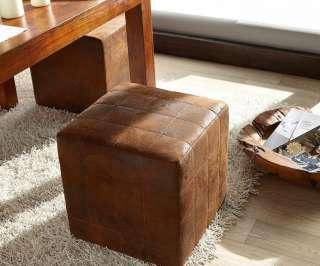DELIFE Sitzhocker Dado 45x45 cm Braun Antik Optik abgesteppt, Sitzhocker / Sitzwürfel