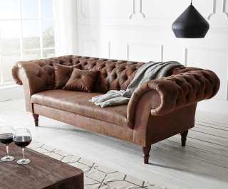 DELIFE Chesterfield Perida 235x92 Braun Antik Optik abgesteppt, Chesterfields