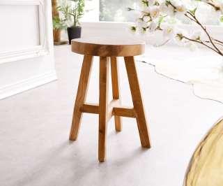 DELIFE Sitzhocker Adela 30x30 cm Teakholz Natur rund Massivholz, Sitzhocker / Sitzwürfel