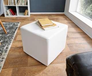 DELIFE Sitzwürfel Dado 45x45 cm Weiss klassischer Sitzhocker, Sitzhocker / Sitzwürfel