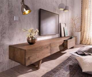 DELIFE Design-Lowboard Wyatt 220 cm Akazie Braun 4 Schübe, Fernsehtische
