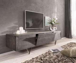 DELIFE Design-Lowboard Wyatt 175 cm Akazie Platin 2 Türen 1 Klappe, Fernsehtische