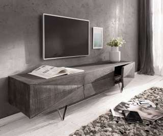 DELIFE Design-Lowboard Wyatt 175 cm Akazie Platin 1 Klappe, Fernsehtische