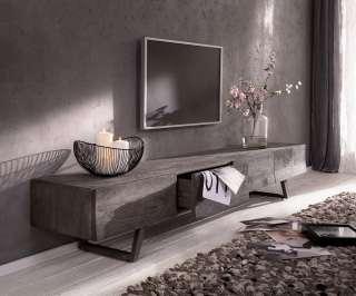 DELIFE Design-Lowboard Wyatt 220 cm Akazie Platin 4 Schübe, Fernsehtische