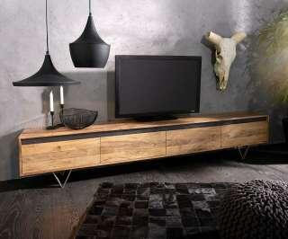 DELIFE Design-Lowboard Stonegrace 240 cm Akazie Natur 4 Türen, Fernsehtische