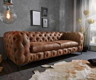 DELIFE Couch Corleone 3-Sitzer Braun Antik, Chesterfields