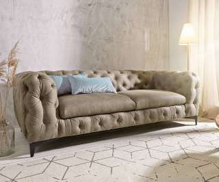 DELIFE Couch Corleone 3-Sitzer Taupe Antik, Chesterfields