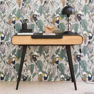 Designertisch in Schwarz und Eichefarben abgerundet