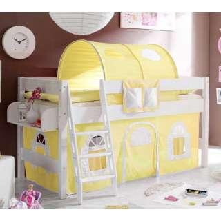 Halbhohes Kinderbett in Weiß Kiefer massiv Tunnel und Vorhang in Gelb