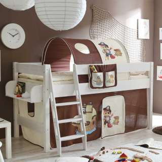 Kinderzimmer Bett im Piraten Design halbhoch