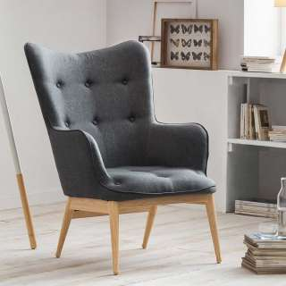 Skandi Design Sessel in Dunkelgrau Webstoff Armlehnen