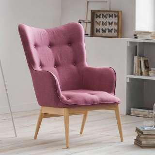 Skandi Design Polstersessel in Rosa Webstoff modern