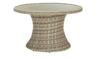 Tisch  Capri ¦ creme ¦ Aluminium pulverbeschichtet/ PE-Geflecht ¦ Maße (cm): H: 70 Ø: [117.5] Garten > Gartenmöbel > Gartentische - Höffner