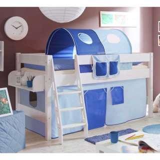Vollholzkinderbett in Weiß Tunnel und Vorhang in Blau