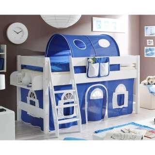 Kinder Halbhochbett mit Tunnel und Vorhang Blau Weiß