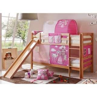Kinderdoppelhochbett im Prinzessin Design Rutsche