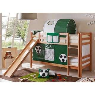 Fußball Etagenbett mit Rutsche und Vorhang in Dunkelgrün Buche Massivholz
