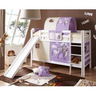 Mädchen Rutschbett in Weiß Buche massiv Prinzessin Design