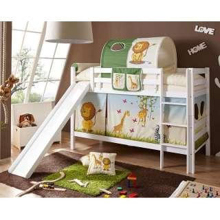 Kinderzimmer Rutschbett mit Zootier Motiven Buche Massivholz in Weiß