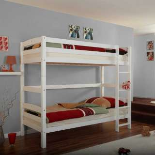 Massivholz Etagenbett aus Kiefer Weiß 180 cm hoch