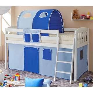 Kinder Halbhochbett in Blau und Weiß Stofftunnel und Vorhang